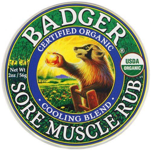 Badger Company, Мазь для растирания от боли в мышцах, охлаждающая смесь, 2 унции (56 г)
