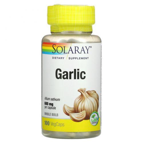 Solaray, Органически выращенный чеснок, 600 мг, 100 растительных капсул