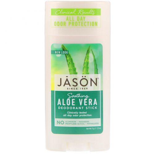 Jason Natural, Натуральный успокаивающий дезодорант-стик с  алоэ вера, 2.5 унций (71 г)