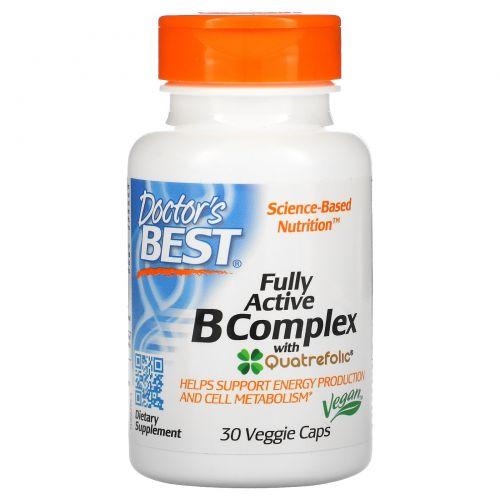 Doctor's Best, Лучший полностью активный комплекс витамина B, 30 вегетарианских капсул