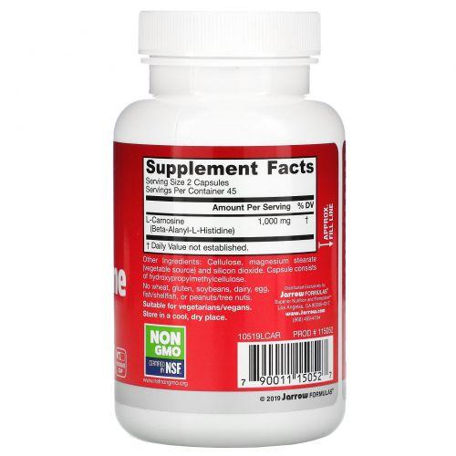 Jarrow Formulas, L-карнозин, бета-аланил-L-хистидин, 500 мг, 90 капсул
