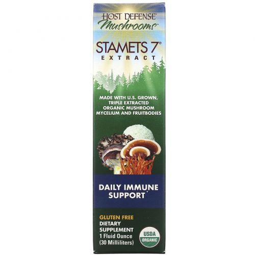 Fungi Perfecti, Host Defense, Stamets 7 Extract, ежедневная иммунная поддержка, 1 жидкая унция (30 мл)