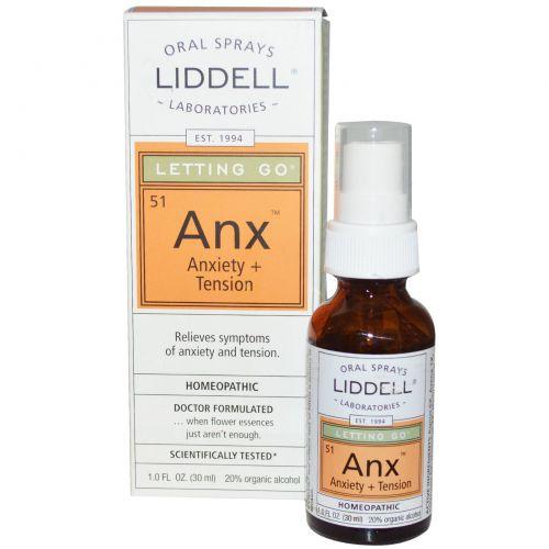 Liddell, Letting Go, Anx, тревога + напряжение, оральный спрей 1,0 жидкая унция (30 мл)