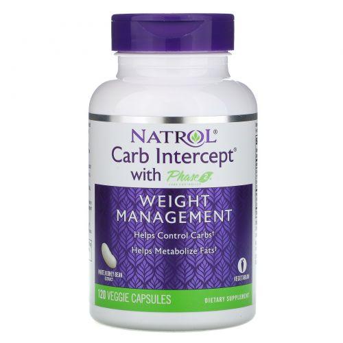 Natrol, Carb Intercept 2-я фаза контроля углеводов, 120 вегетарианских капсул
