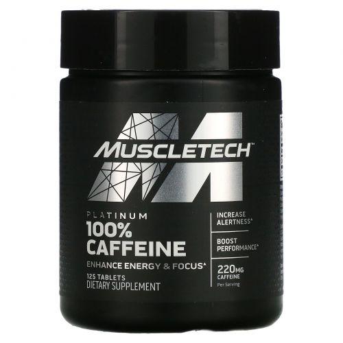Muscletech, Essential Series, Platinum 100% Caffeine, 200 mg, 125 Tablets