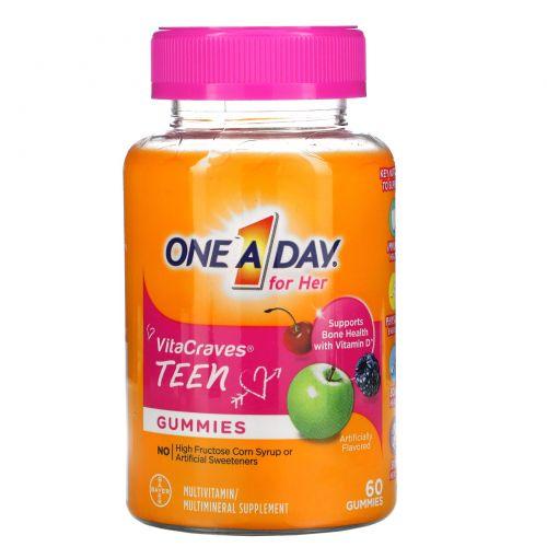 """One-A-Day, """"ВитаЖажда"""", ежедневный мультивитаминный комплекс из серии """"Раз в день"""" для девочек-тинэйджеров, 60 жевательных пастилок"""