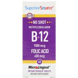 Superior Source, B-12 Метилкобаламин и Фолиевая Кислота, 1000 мкг/400 мкг 60 мгновенно растворимых таблеток