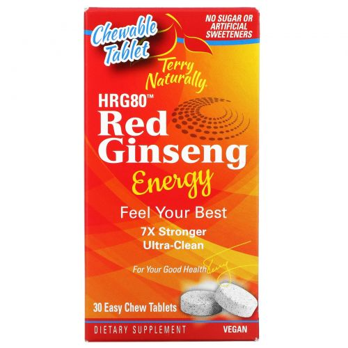 Terry Naturally, HR80 Red Ginseng Energy, 30 Easy Chew Tablets