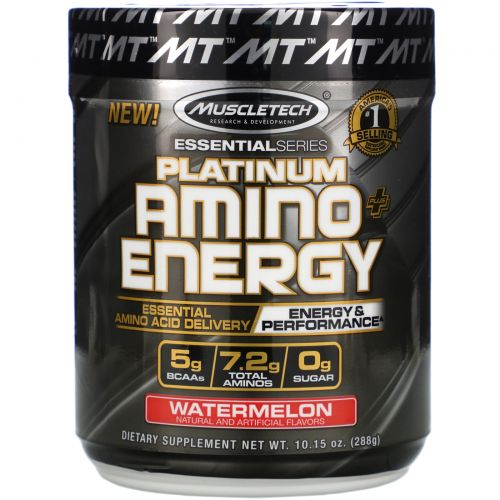 Muscletech, Platinum Amino Plus Energy, Watermelon, 10.15 oz (288 g)