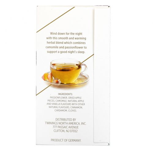 Twinings, Успокаивающий травяной чай, страстоцвет и ромашка, пряное яблоко и ваниль, без кофеина, 18 пакетиков по 0,95 унц. (27 г)