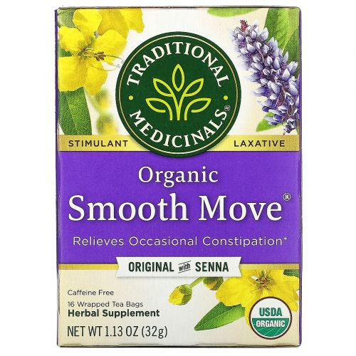 Traditional Medicinals, Organic Smooth Move, слабительное на основе сенны, без кофеина, 16 чайных пакетиков в индивидуальной упаковке, 1.13 унции (32 г)