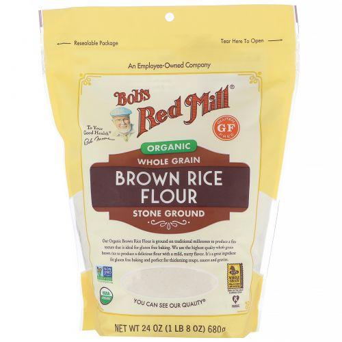 Bob's Red Mill, Мука из органического бурого риса, цельнозерновая, без глютена, 680г (24унции)