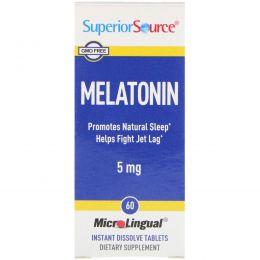 Superior Source, Мелатонин, 5 мг, 60 быстрорастворимых микролингвальных таблеток