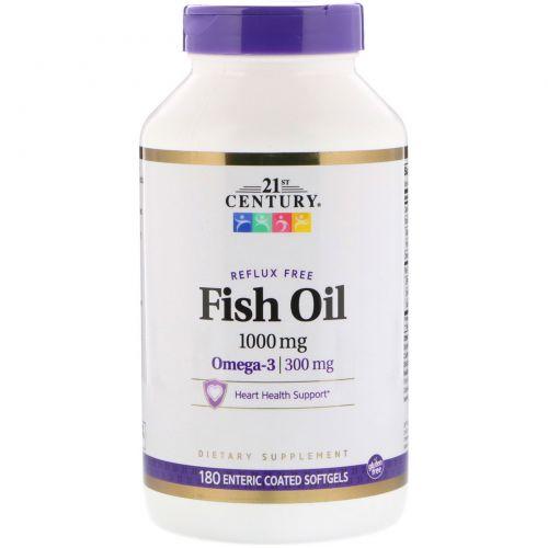 21st Century, Рыбий жир, 1000 мг, 180 желатиновых капсул с энтеросолюбильным покрытием