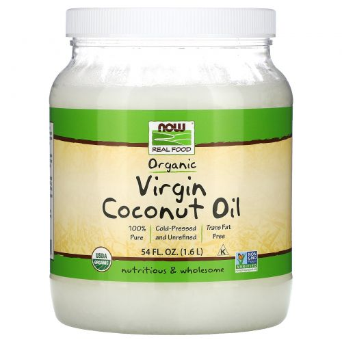 Now Foods, Органическое кокосовое масло первого отжима, 54 жидких унции (1,6 л)