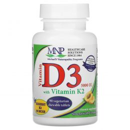 Michael's Naturopathic, Витамин D3, витамин K2, натуральный абрикосовый ароматизатор, 5000 МЕ, 90 подъязычных таблеток