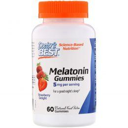 Doctor's Best, Жевательные таблетки с мелатонином, клубничное наслаждение, 5 мг, 60 жевательных таблеток