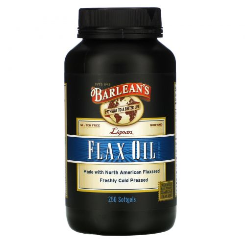 Barlean's, Льняное масло с лигнанами, 250 желатиновых капсул