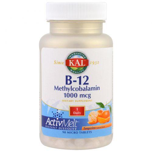 KAL, B-12  Methylcobalamin, Tangerine, 1000 mcg, 90 Micro Tablets