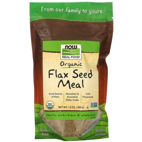 Now Foods, Real Food, сертифицированное органическое льняное питание, 12 унций (340 г)