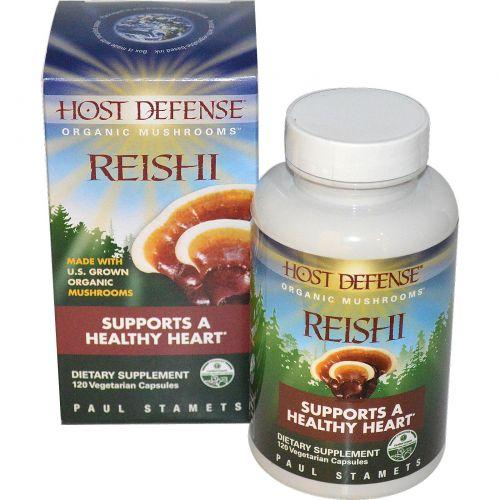 Fungi Perfecti, Host Defense, Рейши, 120 растительных капсул
