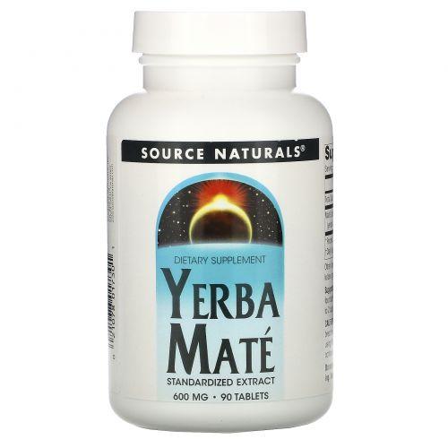 Source Naturals, Парагвайский чай (мате), 600 мг, 90 таблеток