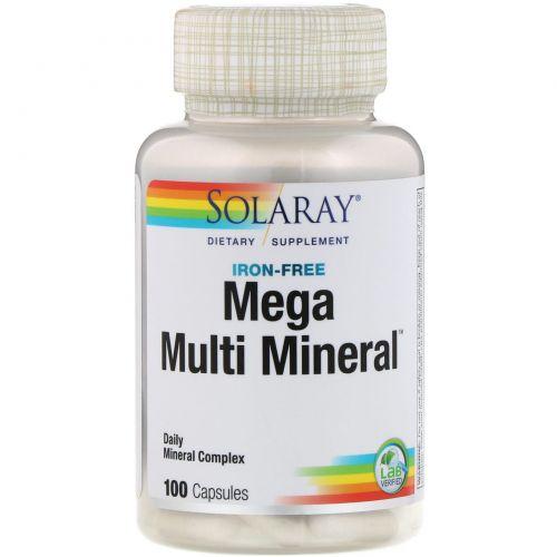 Solaray, Mega Multi Mineral, Без железа в составе, 100 капсул