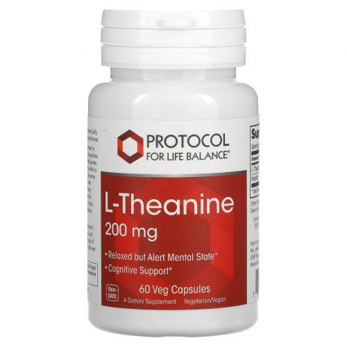 Protocol for Life Balance, L-Theanine, 200 mg , 60 Veg Capsules