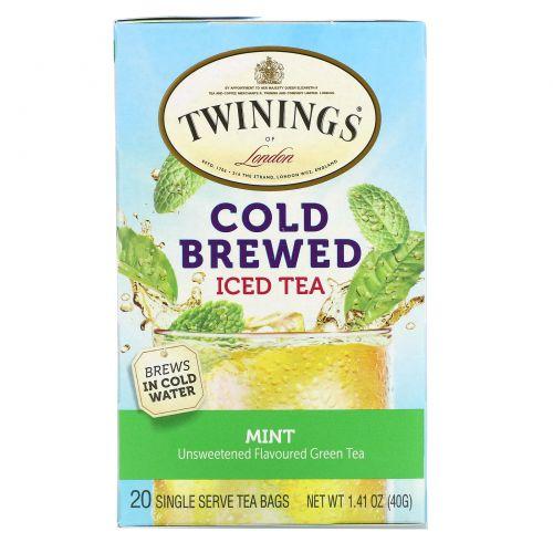 Twinings, Чай холодной заварки, зеленый чай с мятой, 20 пакетиков, 1,41 унции (40 г)