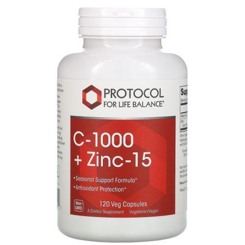 Protocol for Life Balance, C-1000 + Zinc-15, 120 Veg Capsules