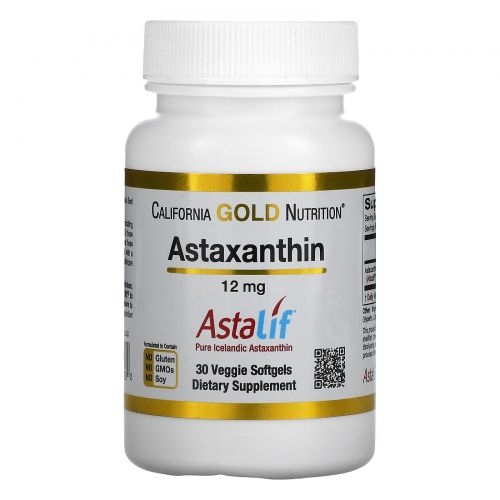 California Gold Nutrition, Astaxanthin, Astalif, 12 mg, 30 Veggie Softgels
