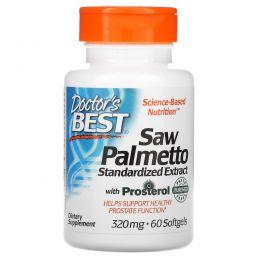 Doctor's Best, Пальма сереноа, стандартизированный экстракт с Евромед, 320 мг, 60 капсул