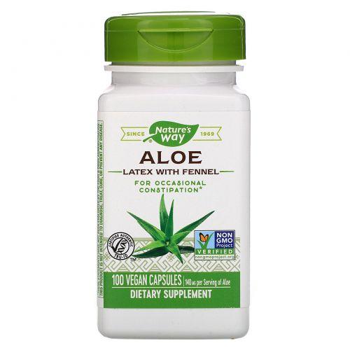 Nature's Way, Алоэ, лист и млечный сок, 475 мг, 100 вегетарианских капсул