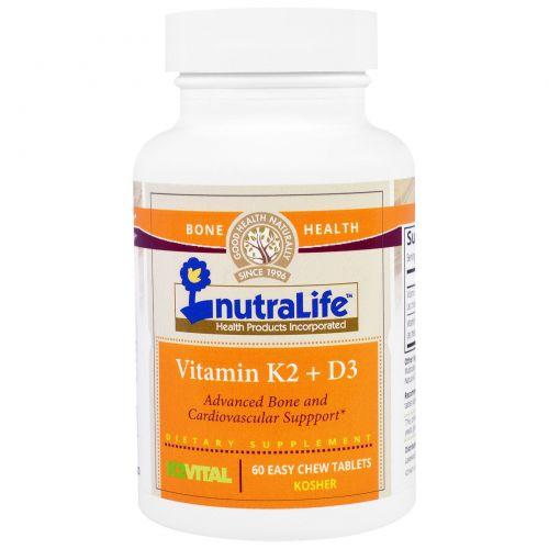 NutraLife, Витамины K2 и D3, 60 легко разжевываемых таблеток