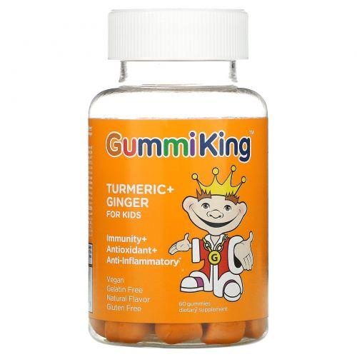 GummiKing, Turmeric + Ginger For Kids, Immunity + Antioxidant + Anti-Inflammatory, Mango Falvor, 60 Gummies