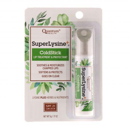 Quantum Health, Super Lysine+, помада против герпеса, лечение и защита губ, SPF-21, 0,18 унции (5 г)