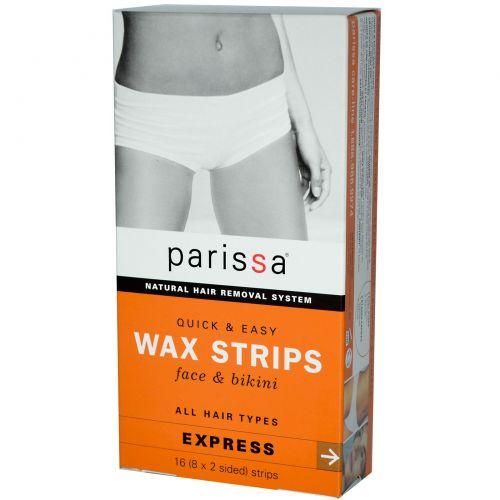 Parissa, Натуральная система удаления волос, восковые полоски, 16 полос (8х2-сторонних)
