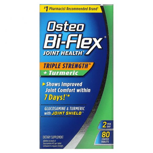 Osteo Bi-Flex, Joint Health, Triple Strength + Turmeric , 80 Coated Tablets