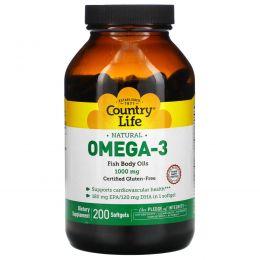 Country Life, Омега-3, 1000 мг, 200 желатиновых капсул