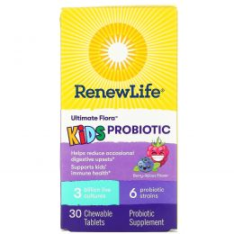 Renew Life, Ultimate Flora, детcкий пробиотик, ягоды, 30 жевательных таблеток