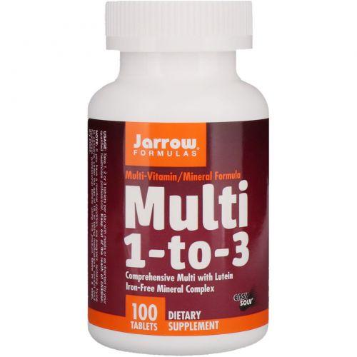 Jarrow Formulas, Мультиформула 1-к-3, с лютеином, Не содержат железа, 100 таблеток
