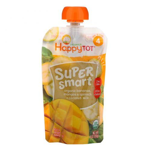 Nurture Inc. (Happy Baby), Happy Tot, Super Smart, Фруктово-овощное пюре, Уровень 4, Органические бананы, манго, шпинат и кокосовое молоко, 113 г (4 oz)
