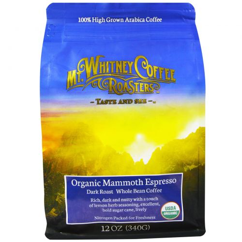 Mt. Whitney Coffee Roasters, Органический кофе в зернах, Mammoth Espresso, темная обжарка, 12 унций (340 г)