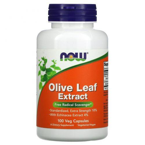 Now Foods, Экстракт листьев оливы, 100 растительных капсул