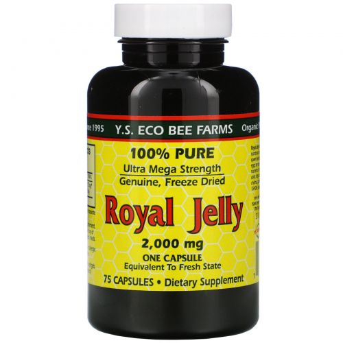 Y.S. Eco Bee Farms, Royal Jelly, 100% чистое, 2000 мг, 75 капсул
