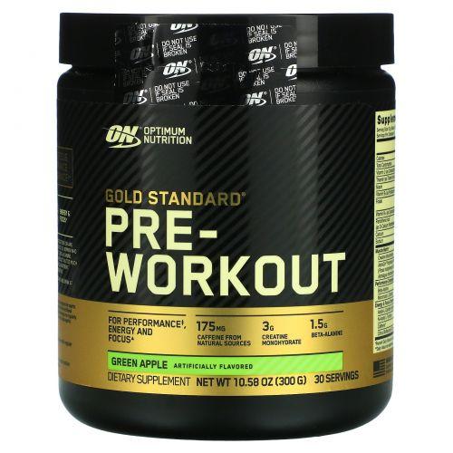 Optimum Nutrition, Добавка золотого стандарта для приема перед тренировкой, зеленое яблоко, 10.58 унций (300 г)