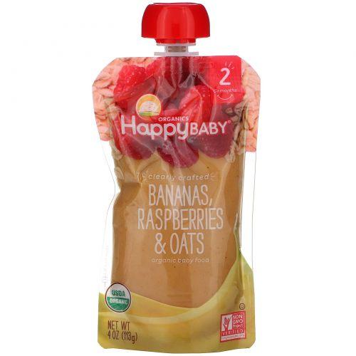 Nurture Inc. (Happy Baby), Органическое детское питание, особое приготовление, бананы, малина и овес, 2-й этап, 6+ месяцев, 4 унции (113 г)