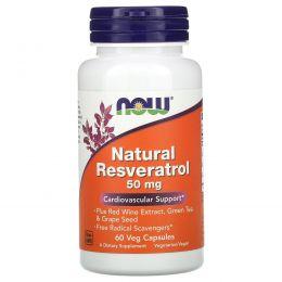 Now Foods, Натуральный резвератрол, 60 капсул на растительной основе