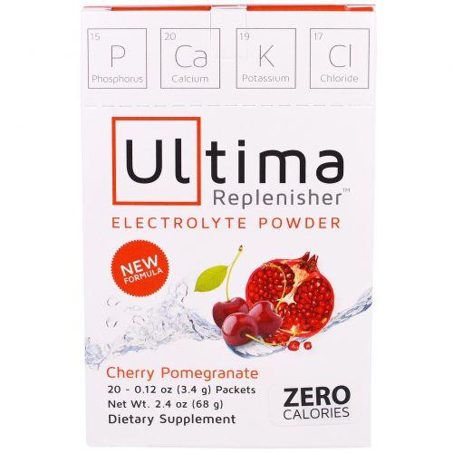 """Ultima Health Products, """"Предельный восполнитель"""", порошок электролитов со вкусом вишни и граната, 20 пакетиков, 0,12 унции (3,4 г)"""