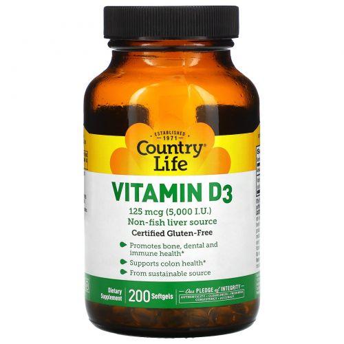 Country Life, Витамин D3, 5000 МЕ, 200 желатиновых капсул